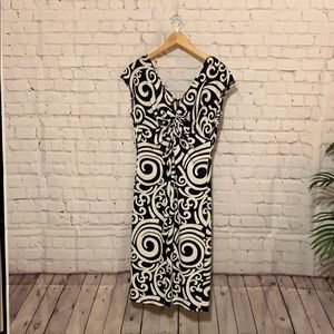London Times Fitted Knit Black White Dress Size 12